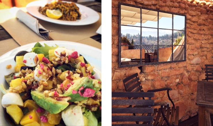 Left: a mango and avocado salad; Right: a small outdoors dining area with wooden chairs, stone wall, and hanging mirror