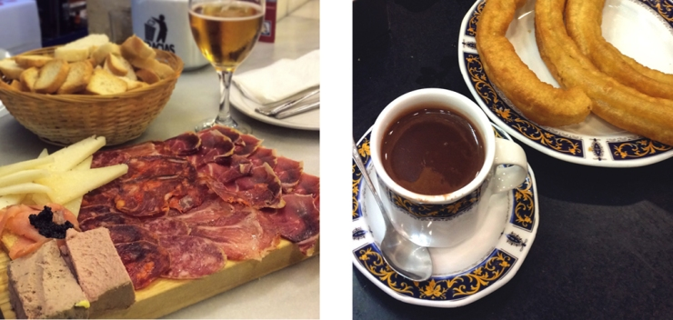 Left: a board of cheeses, salmon, pâté and cut sausages; Right: churros and a cup of liquid chocolate