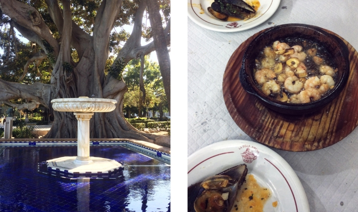Left: an ornate water fountain in front of a large tree; Right: a portion of shrimp cooked in boiling oil and garlic