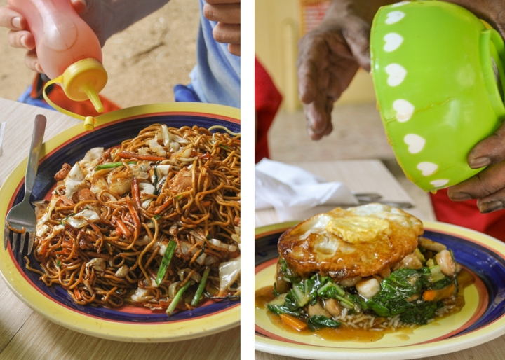 Left: a plate of fried noodles; Right: a plate of rice with chopped vegetables and an overturned fried egg