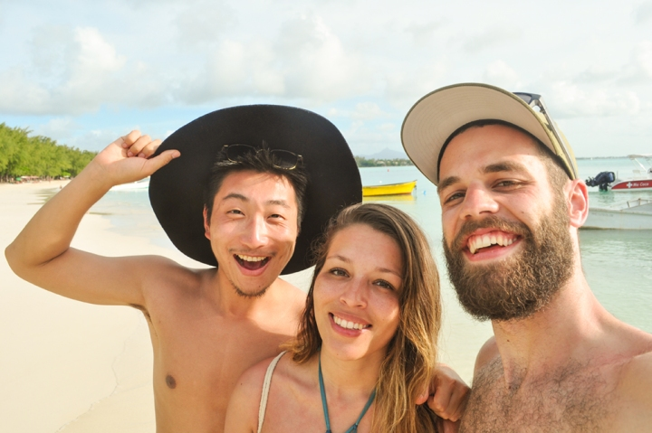 A group of friends having fun on a tropical beach