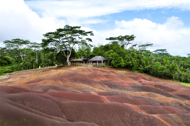 The distinctly-colored sand and earth of the Chamerel Plain, Mauritius