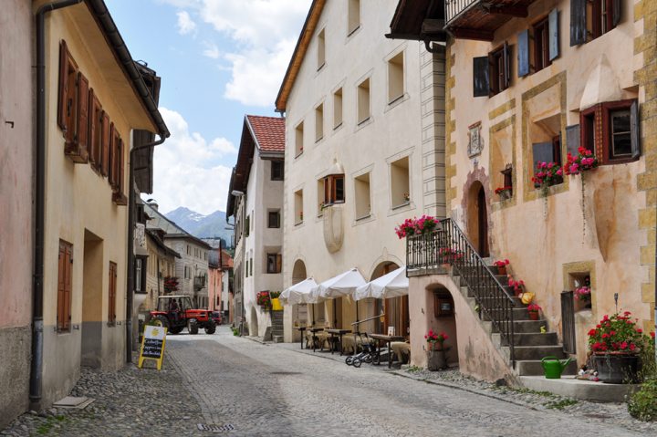 Cobbled street of a traditional Alpine village