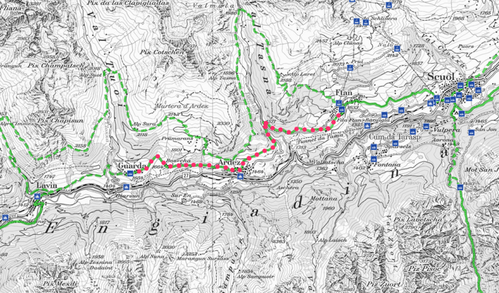 Hiking map of Engiadina with marked route