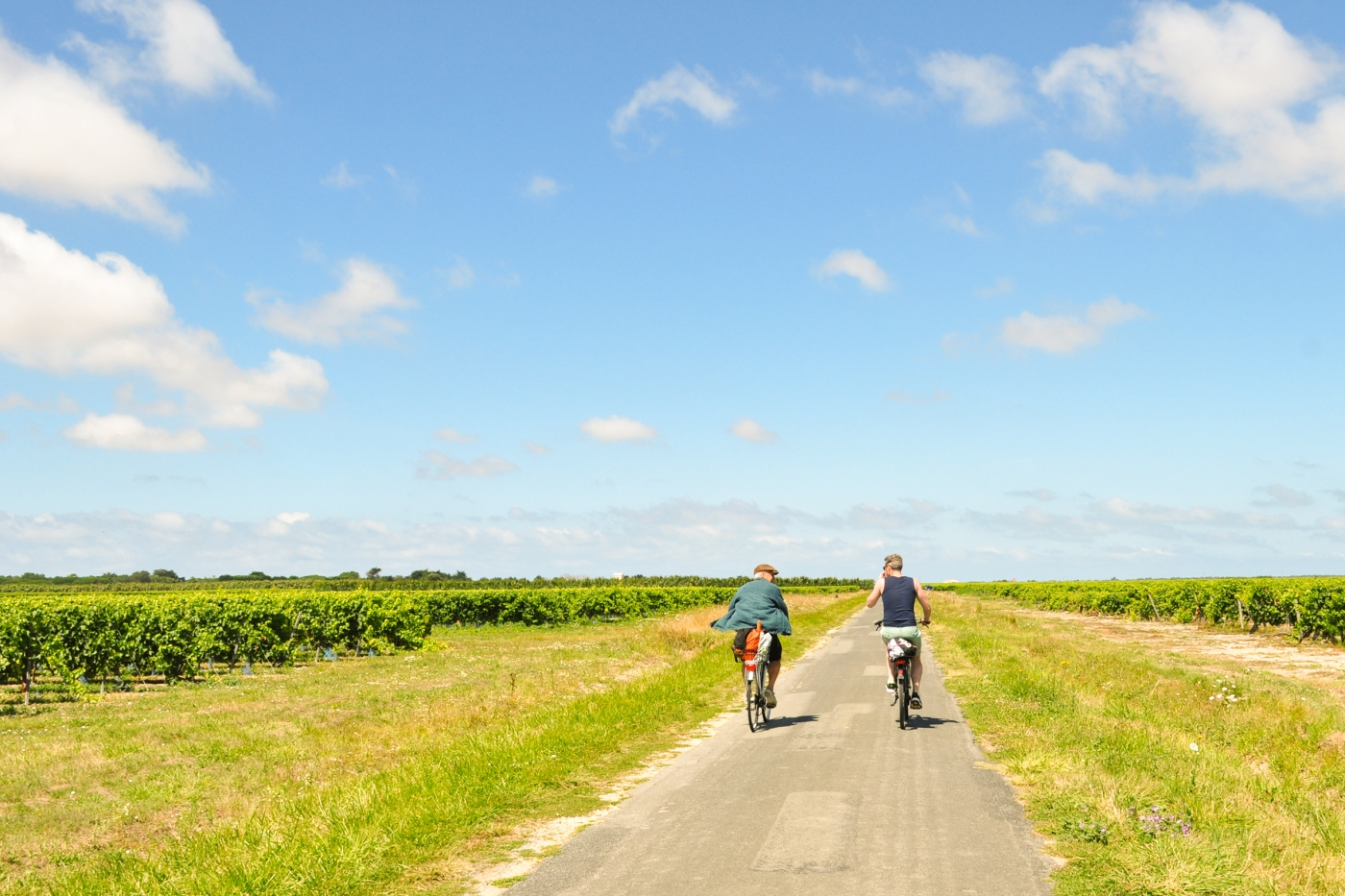 Two men cycling down a country road