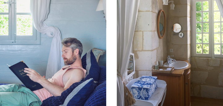Left: Man reading in room with blue paint; Right: elegant and rustic bathroom