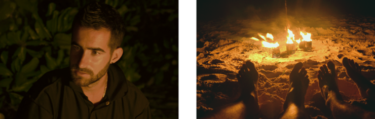 Left: Man looking away from a campfire; Right: Two pairs of feet in front of a small bonfire