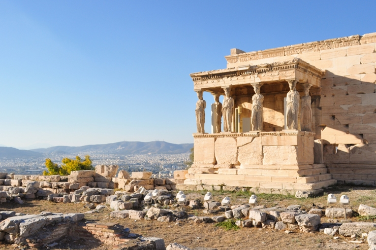 Ancient Greek temple featuring Caryatids