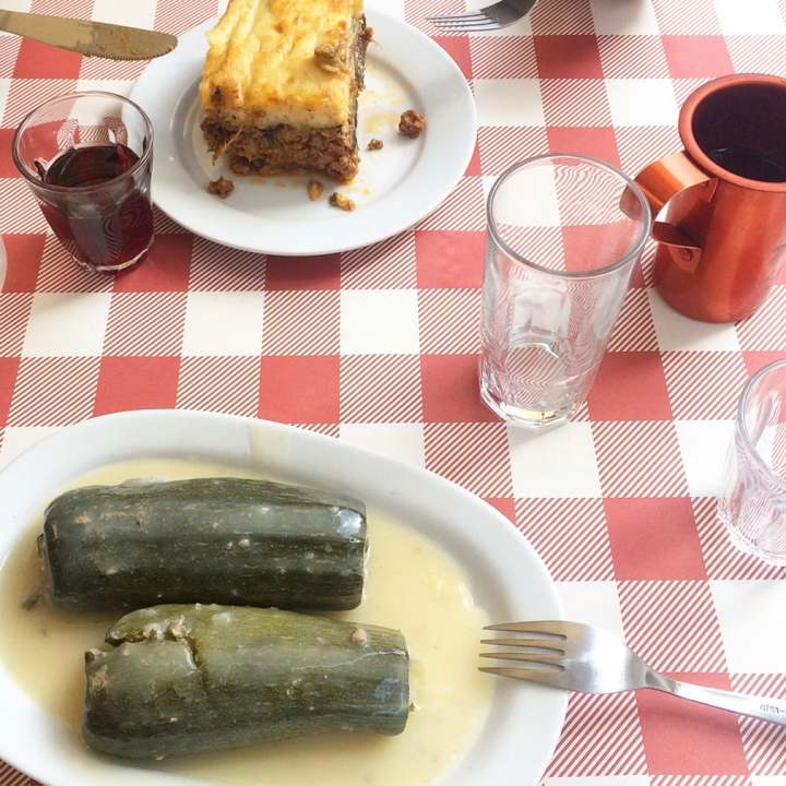 Cucumber in lemon egg sauce and moussaka with wine and Greek coffee