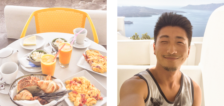 Left: Mediterranean-style breakfast; Right: smiling man on terrace overlooking ocean
