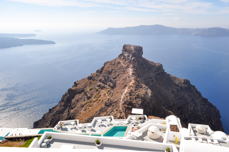 Panoramic view of Aegean sea and triangle-shaped rock