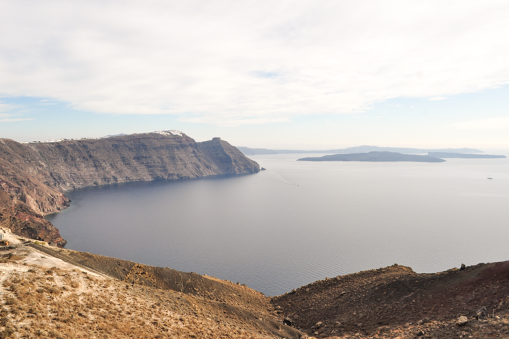 View of a caldera from clifftop
