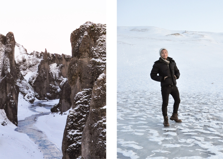 Left: a river cutting through a snow-covered canyon at dawn; Right: man standing in a landscape of snow and ice