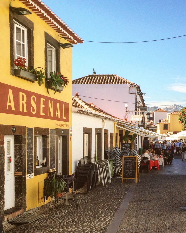 Colorful street in old town of Funchal, Madeira