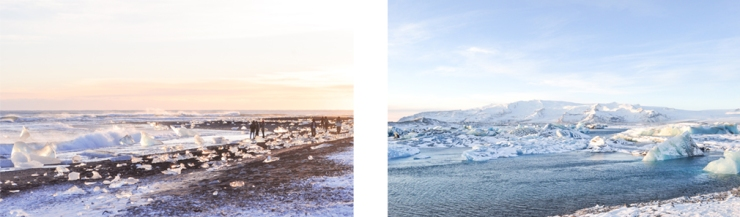 Left: icebergs stranded on a black sand beach in sunset; Right: glacial river lagoon reflecting the day's light