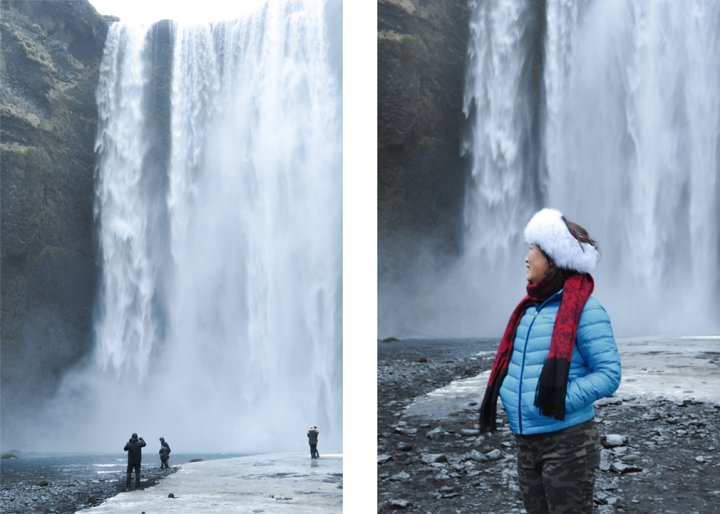 Left: tourists taking a photo in front of a waterfall; Right: woman in winter clothes posing in front of a waterfall