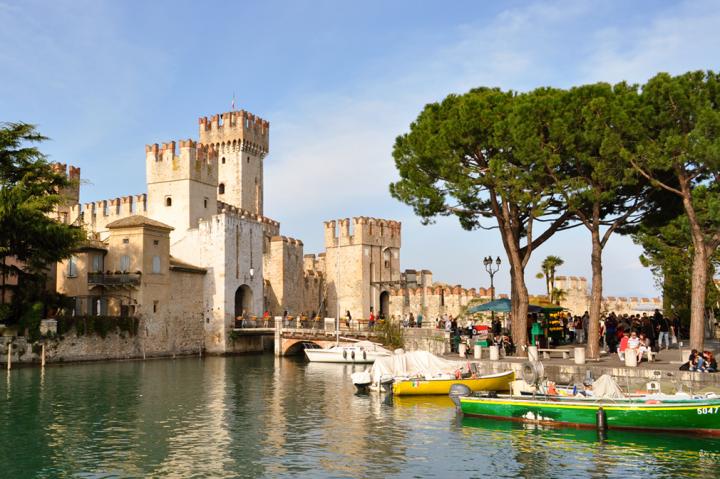 Medieval castle featuring Ghibelline merlons