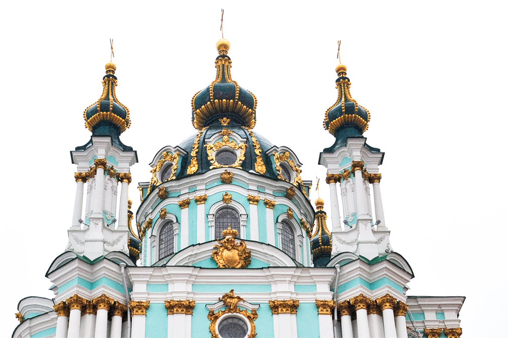 Ornate top section of a Baroque Orthodox church