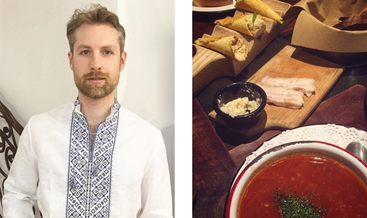 Left: man in tunic with blue embroidery; right: A table of borscht, salted pork fatback, and cones of herring pâté
