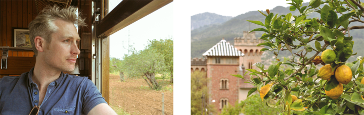 Left: A man looking out of a train window; Right: a lemon tree in front of two medieval towers