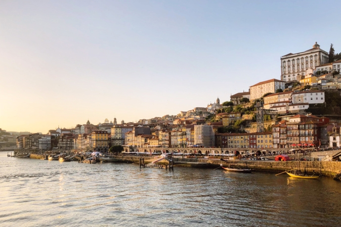 The medieval riverside Ribeira district of Porto in Portugal