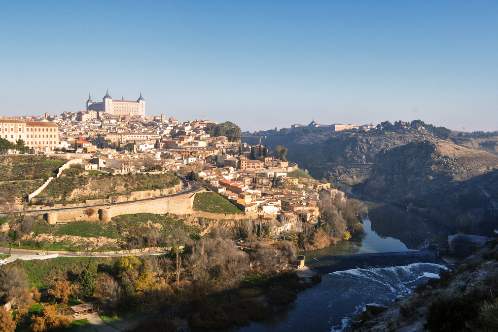 View of Toledo Spain along Tagus River