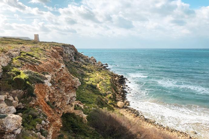A small watchtower in Għajn Tuffieħa, Malta