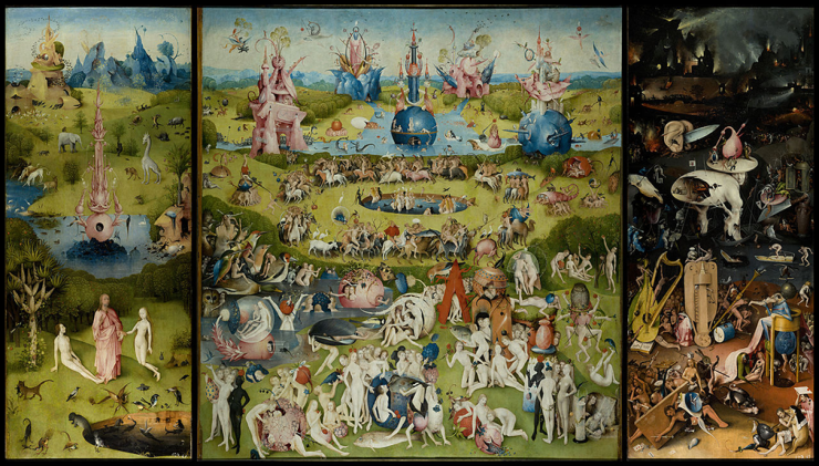 The tryptych painting The Garden of Earthly Delights by Hieronymus Bosch
