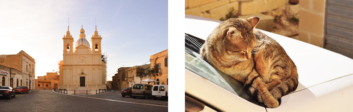 The village of San Lawrenz in Gozo, Malta, and a cat resting on the hood of a car