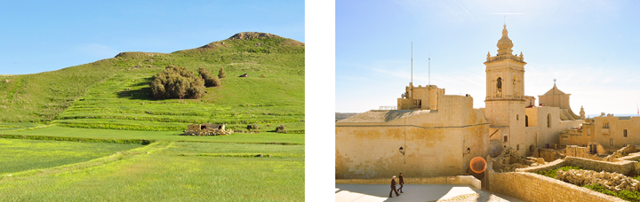 A collage of a Gozitan landscape and the exterior of the Cathedral of Assumption in Città Victoria