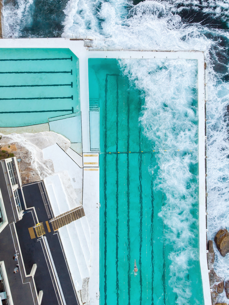 Aerial view of Bondi Icebergs rock pools in Sydney, Australia