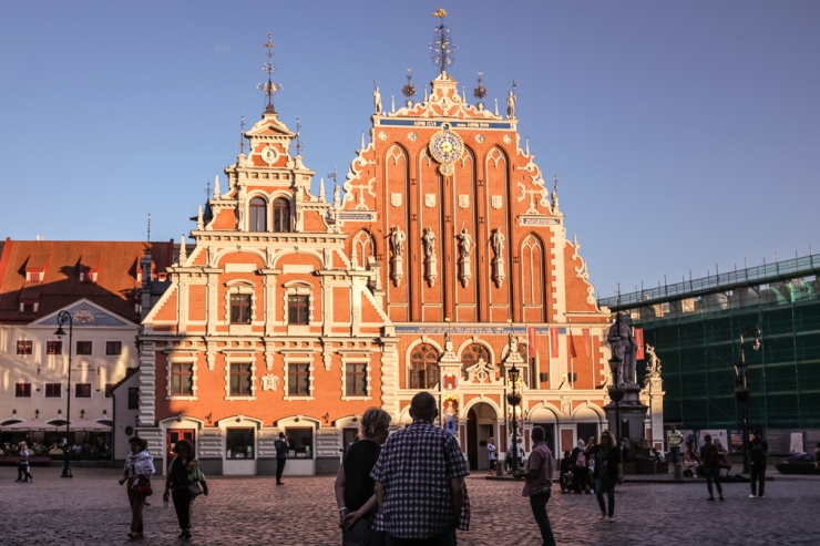 The reconstructed House of the Blackheads in Riga, Latvia