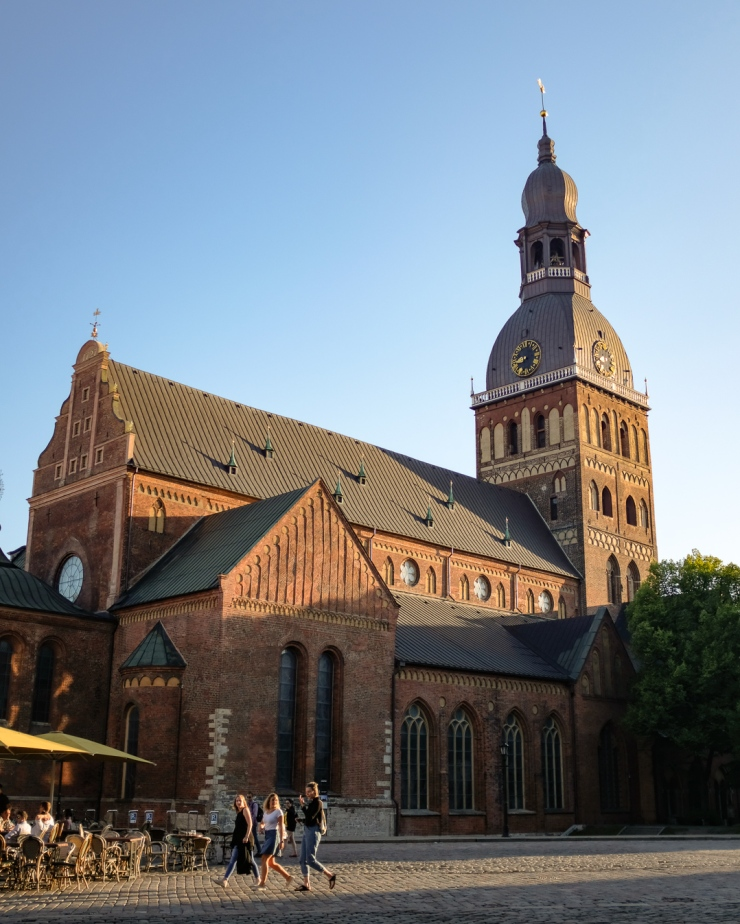 The Riga Cathedral in Latvia under waning daylight