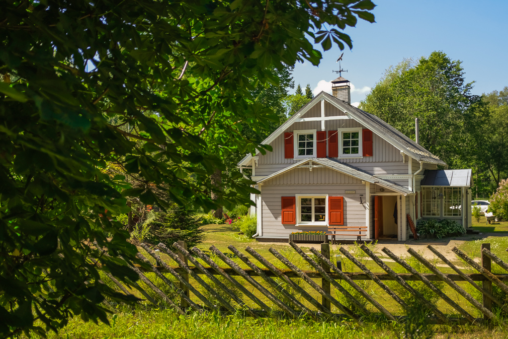 Rural Latvian landscape and house