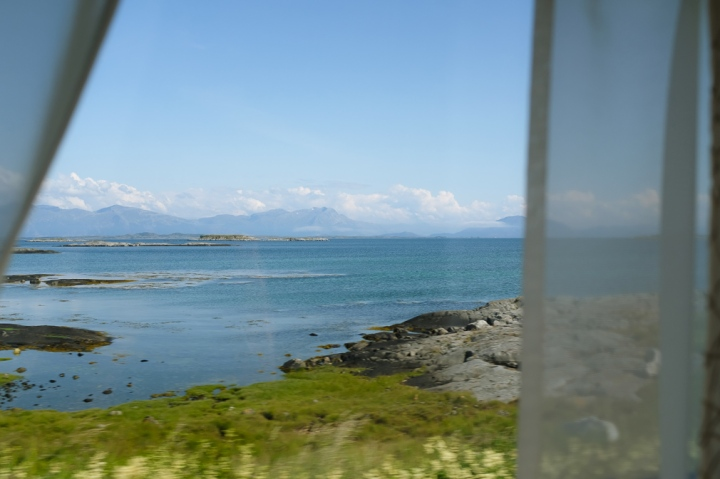 A sea view through a window