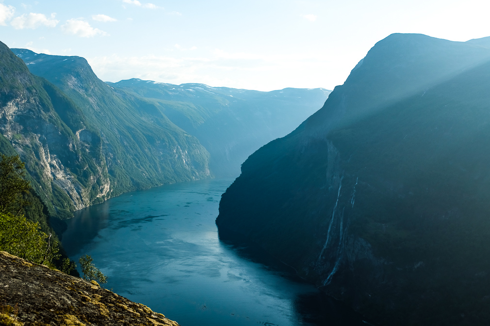 Elevated view of Geirangerfjord from near the mountain farm Skageflå
