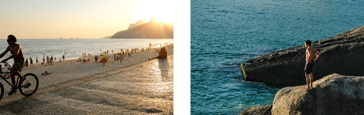 Scenes of Rio de Janeiro's Ipanema Beach at sunset