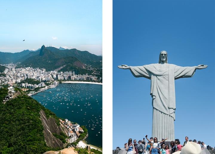 Rio de Janeiro's lush mountainous landscape and the Christ the Redeemer monument