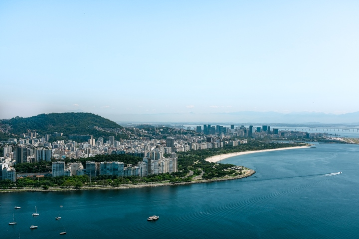 Panoramic view of a city by the water