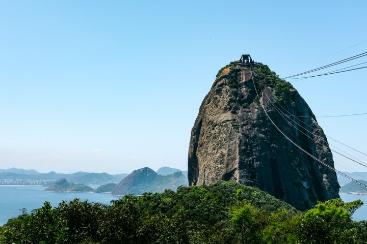 A cable car station perched on the top of the monolithic Sugarloaf Mountain in Rio de Janeiro