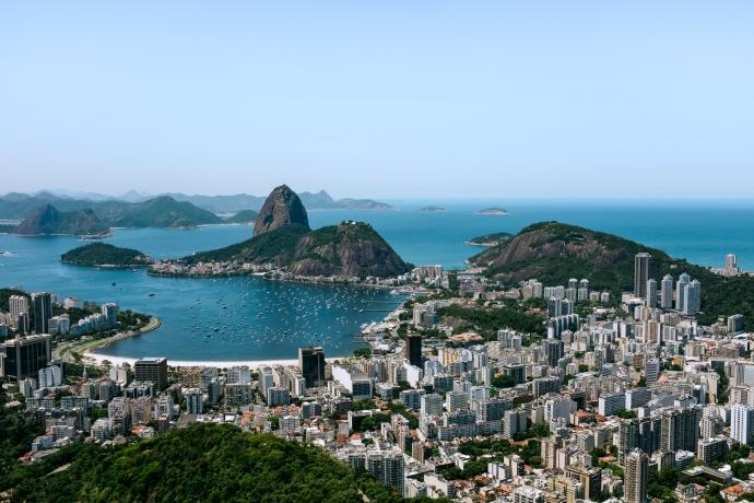 View of the tropical and mountainous Carioca landscape of Rio de Janeiro