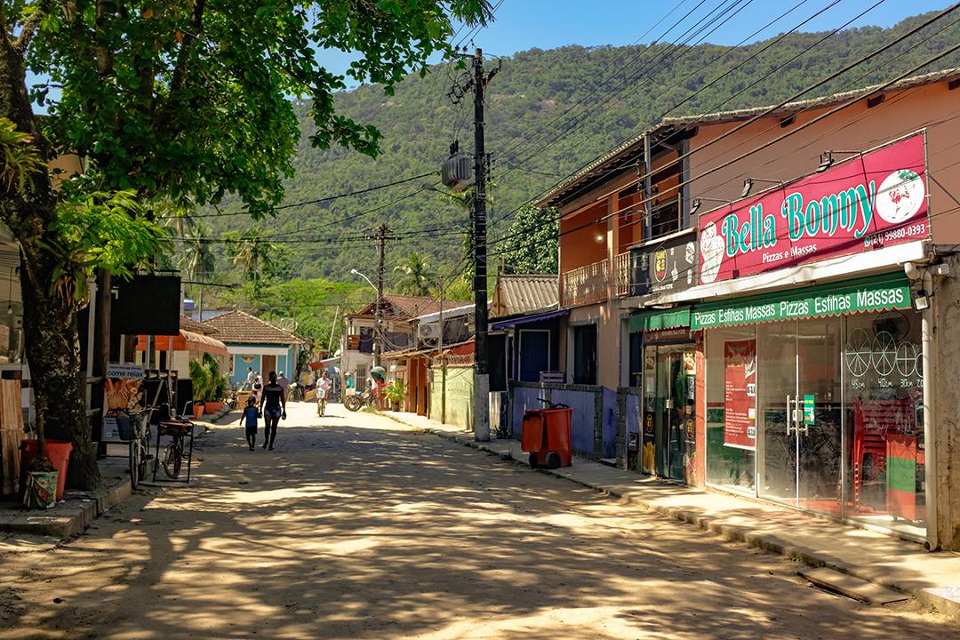 A side street of the village of Abraão on Ilha Grande, Brazil