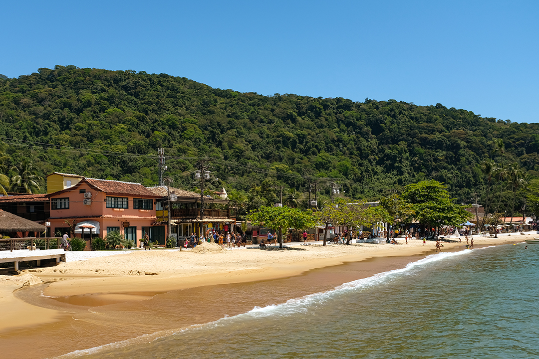 A view of the waterfront of Abraão, the largest village on Brazil's Ilha Grande