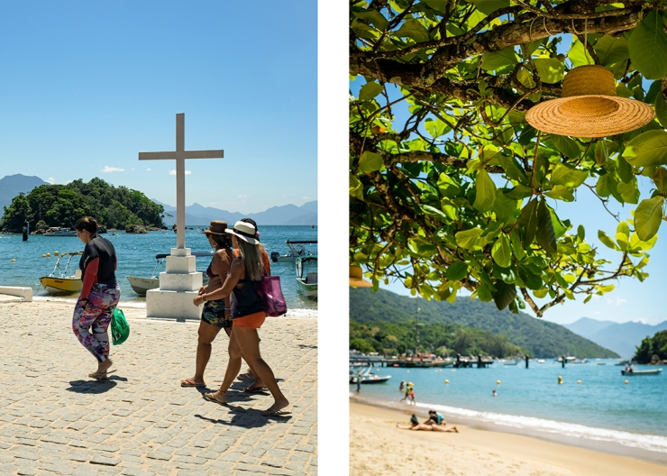 Scenes from the waterfront in Abraão, the largest village on Ilha Grande, Brazil