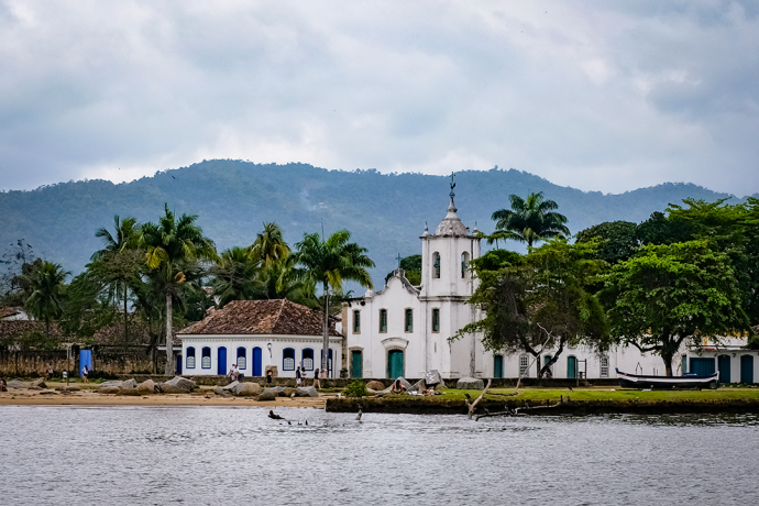 Scenes of Paraty's colonial-style waterfront