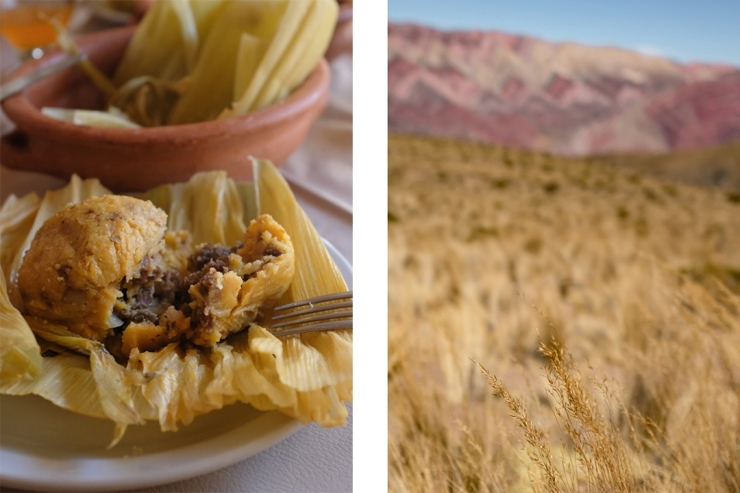 Close-up of a tamale jujeño and the landscape of northwestern Argentina