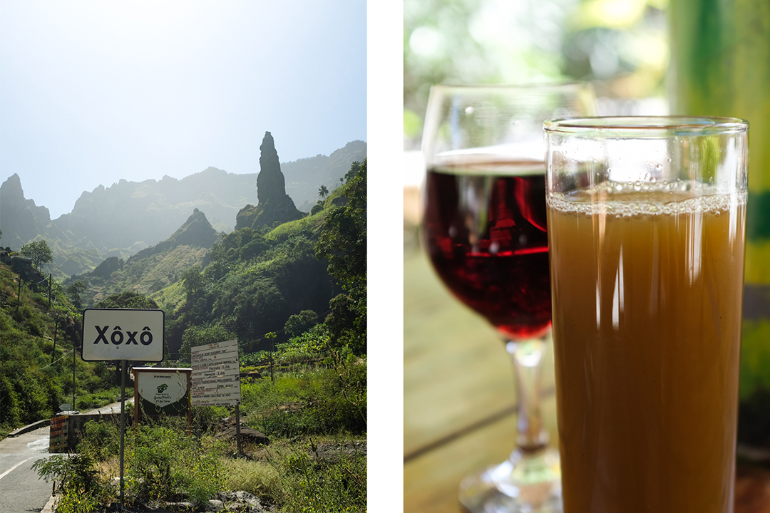 A village sign and glasses of calda—sugar cane juice—and wine