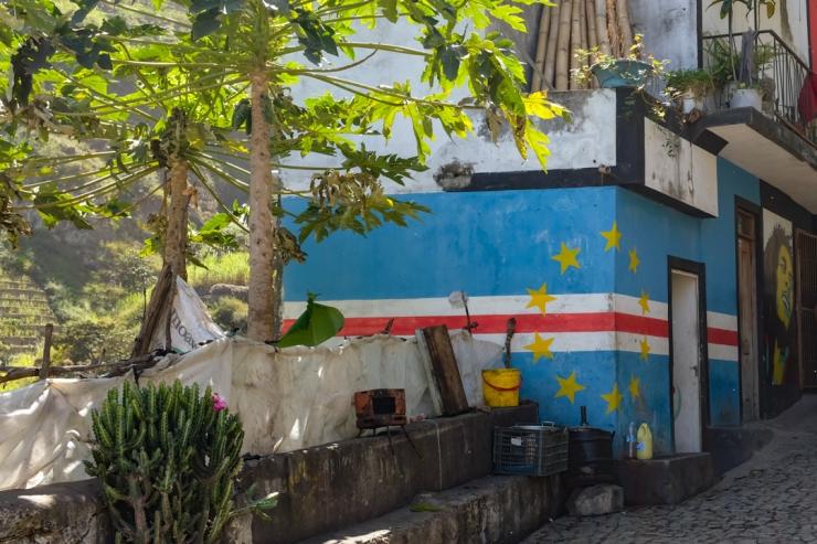 Cape Verdean flag painted onto a village house's walls
