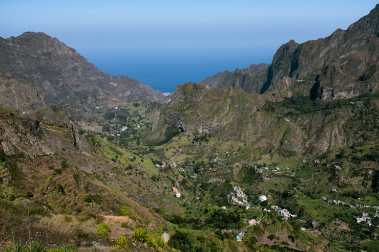 Panorama of mountain valley and ocean