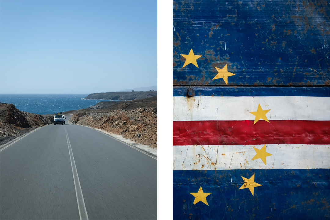 Collage of Cape Verdean flag and aluguer
